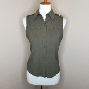 Olive Sleeveless Button Down